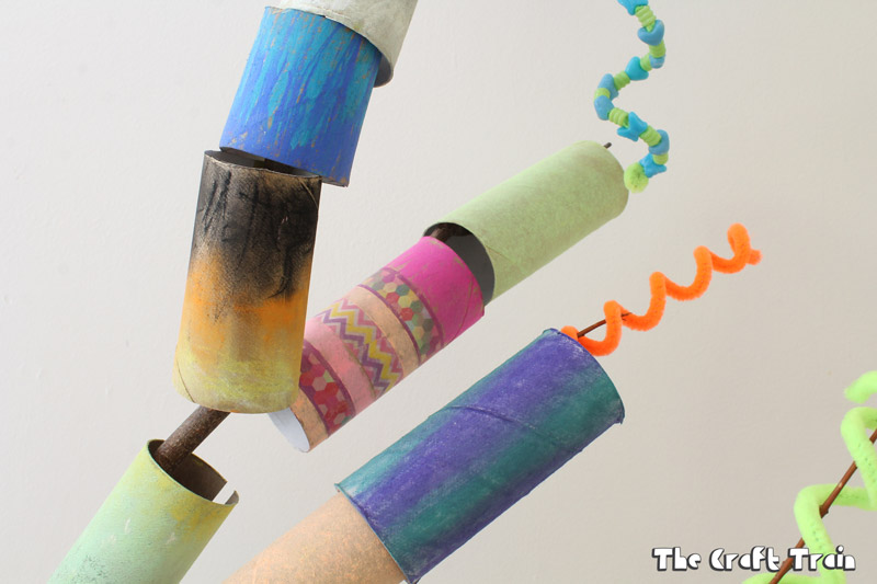 Paper roll tree collaborative art project for kids