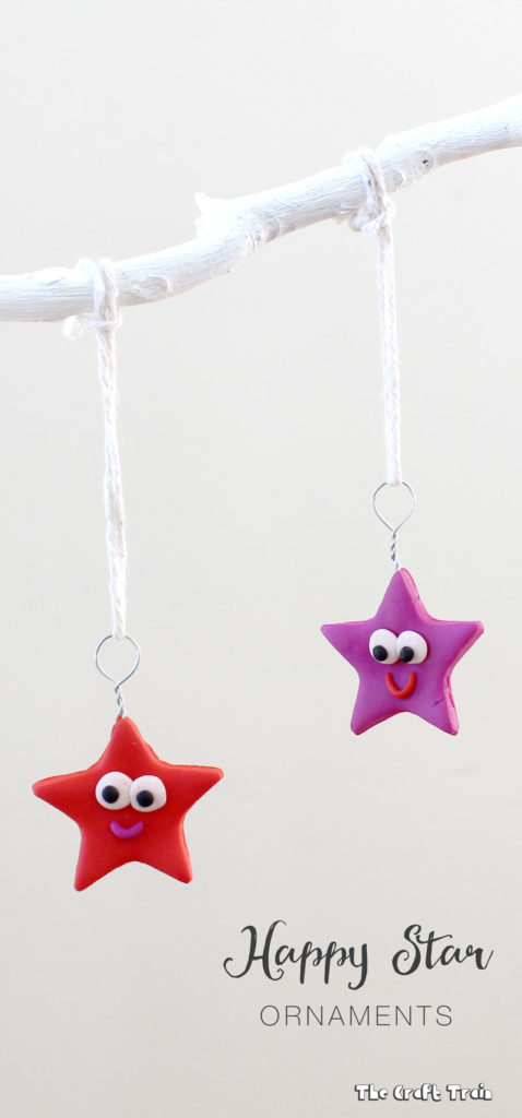 Happy star Christmas ornaments from polymer clay