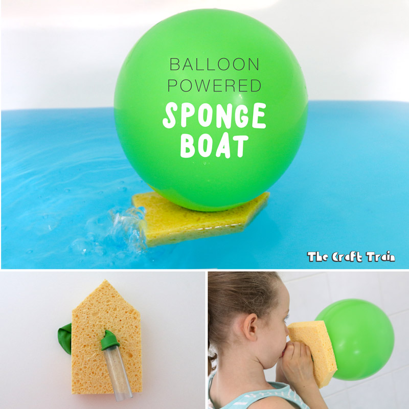 Create a fun balloon powered bath boat from a kitchen sponge