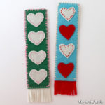 Create a sweet hand-sewn bookmark from felt. This makes an adorable kid-made gift or Valentines Day craft for kids.