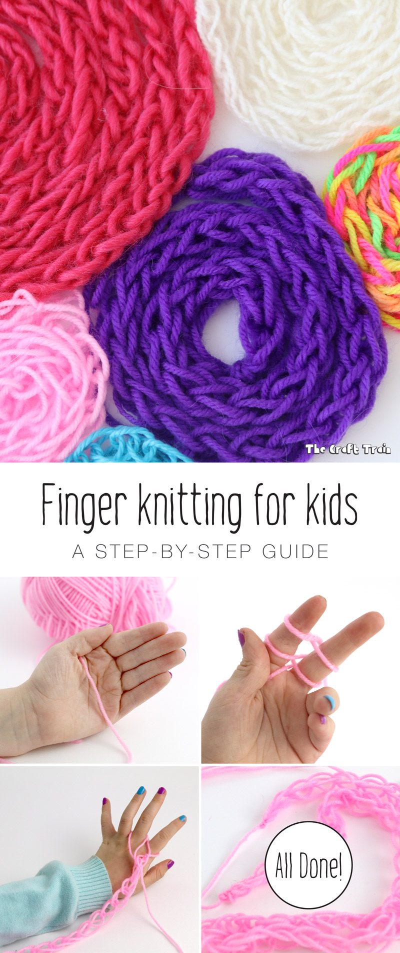 Finger Knitting For Kids : Finger knitting for kids the craft train