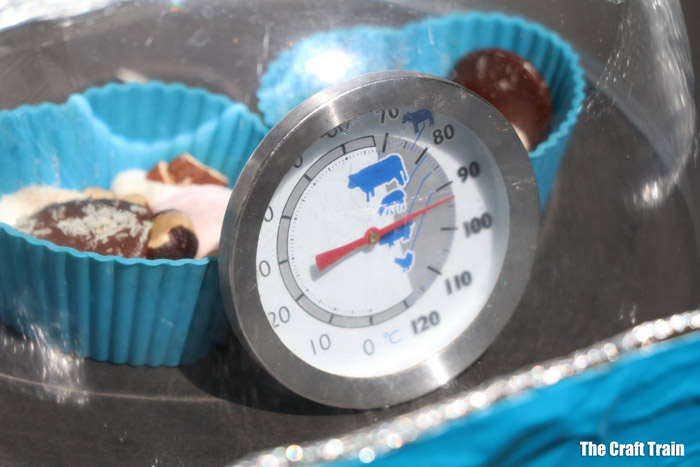 cooking rocky road in a DIY solar oven
