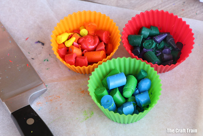 chop crayons and place them in silicone cupcake cases