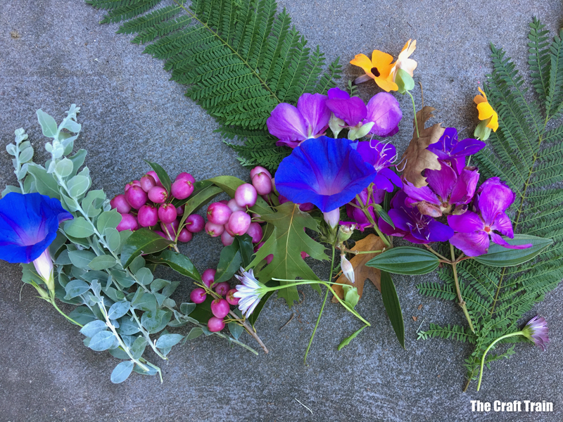 nature items gathered from the garden to create nature art