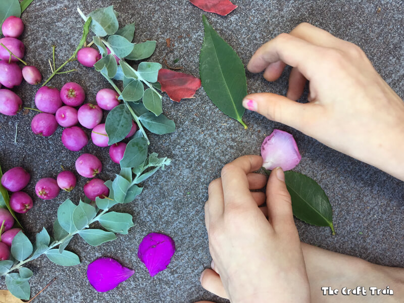 Create nature art using items collected from your garden