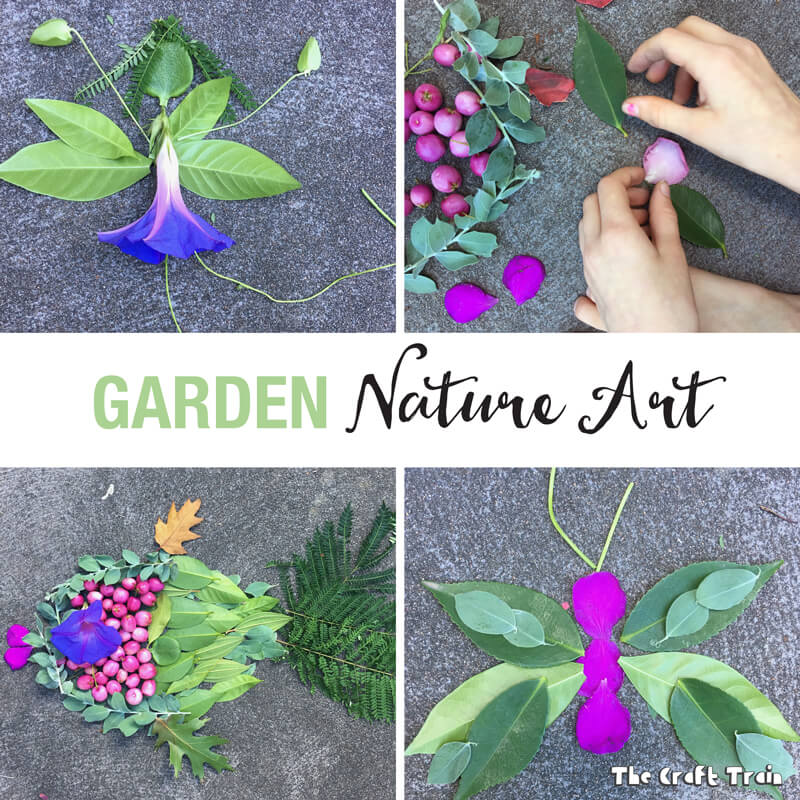 Create Nature Art using items you have collected from the garden. This is a simple, fun, free activity which gets kids outside exploring and using their imaginations.