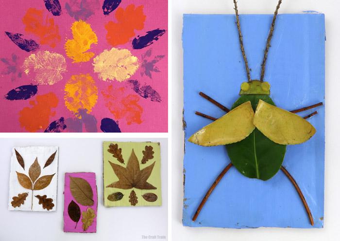 Leaf art ideas: leaf prints, nature bugs and pressed leaf art
