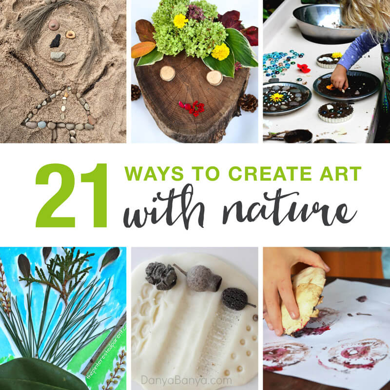a collection of 21 process art ideas for kids using nature.