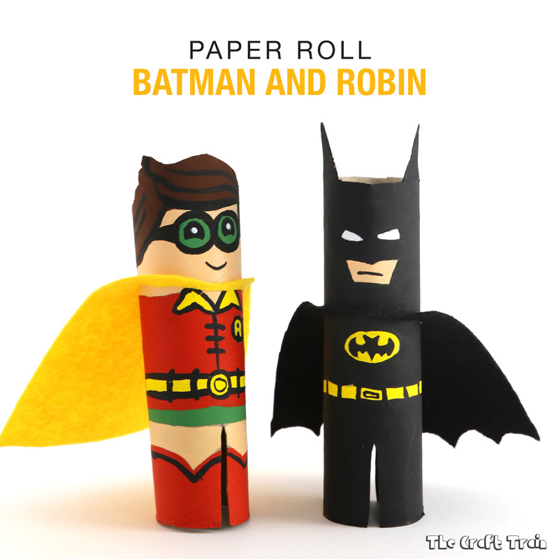 Cute Batman and Robin characters from the Batman Lego movie created from cardboard tubes