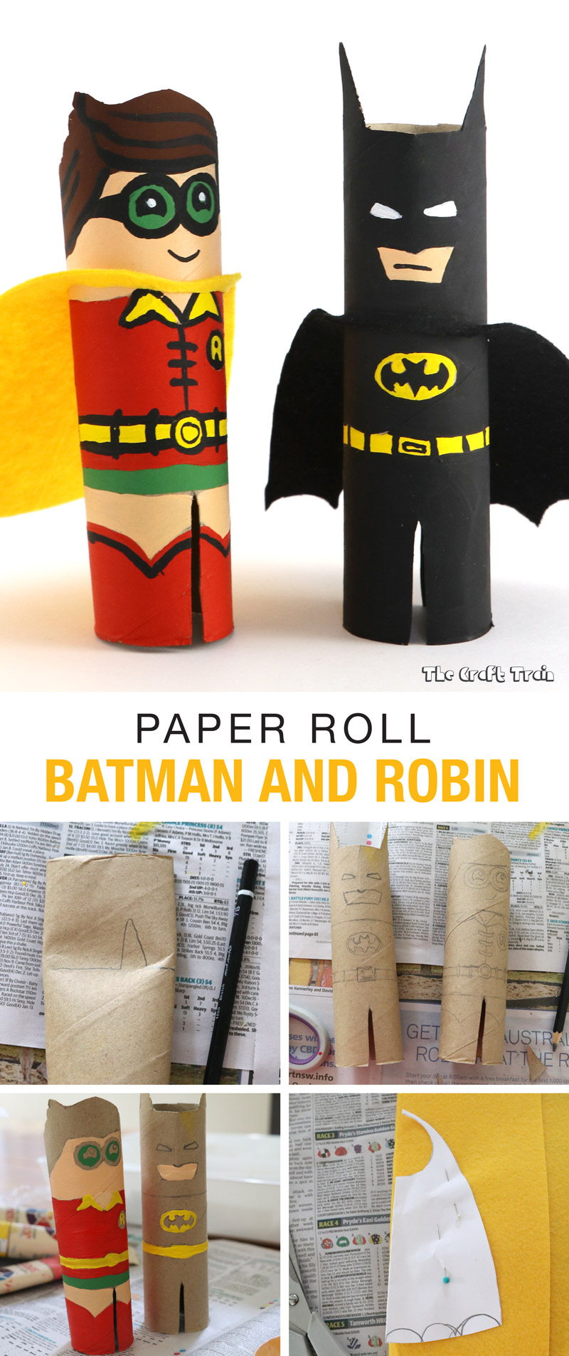 Make cute Batman and Robin characters from a paper roll