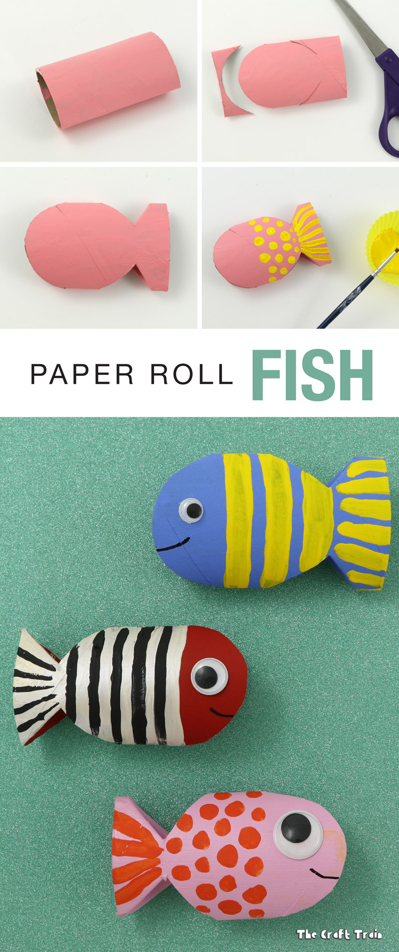 Paper roll fish recycling craft the craft train for How to make recycled paper crafts