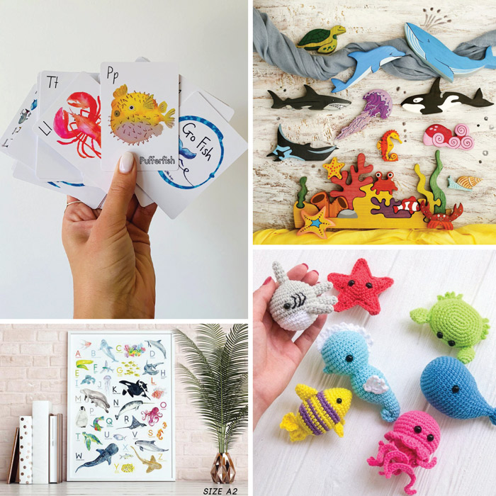 Ocean animal activities and toys for kids from ETSY