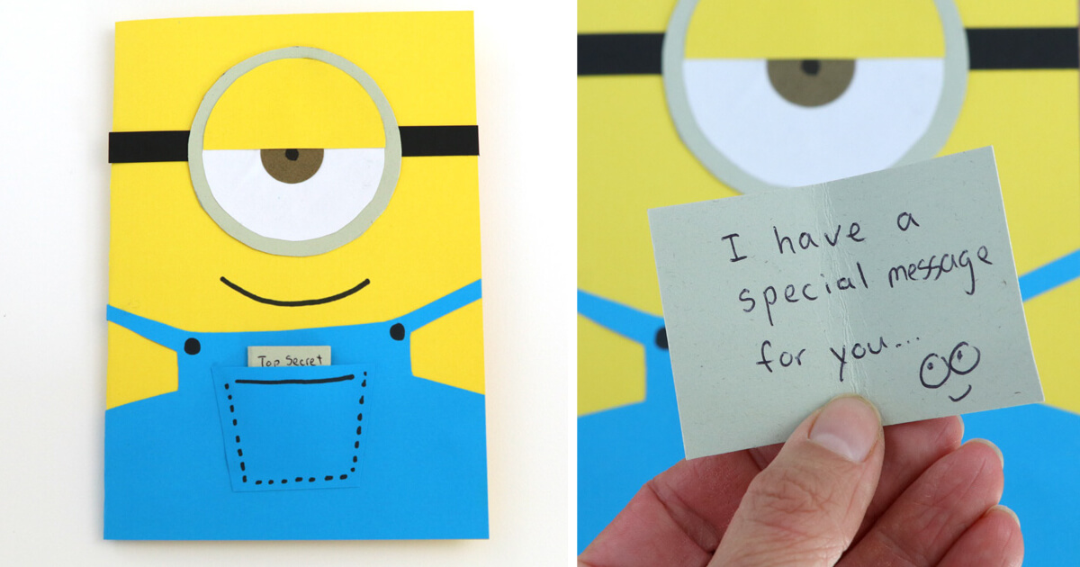 photo relating to You Re One in a Minion Printable named Straightforward Minion Greeting Card The Craft Prepare