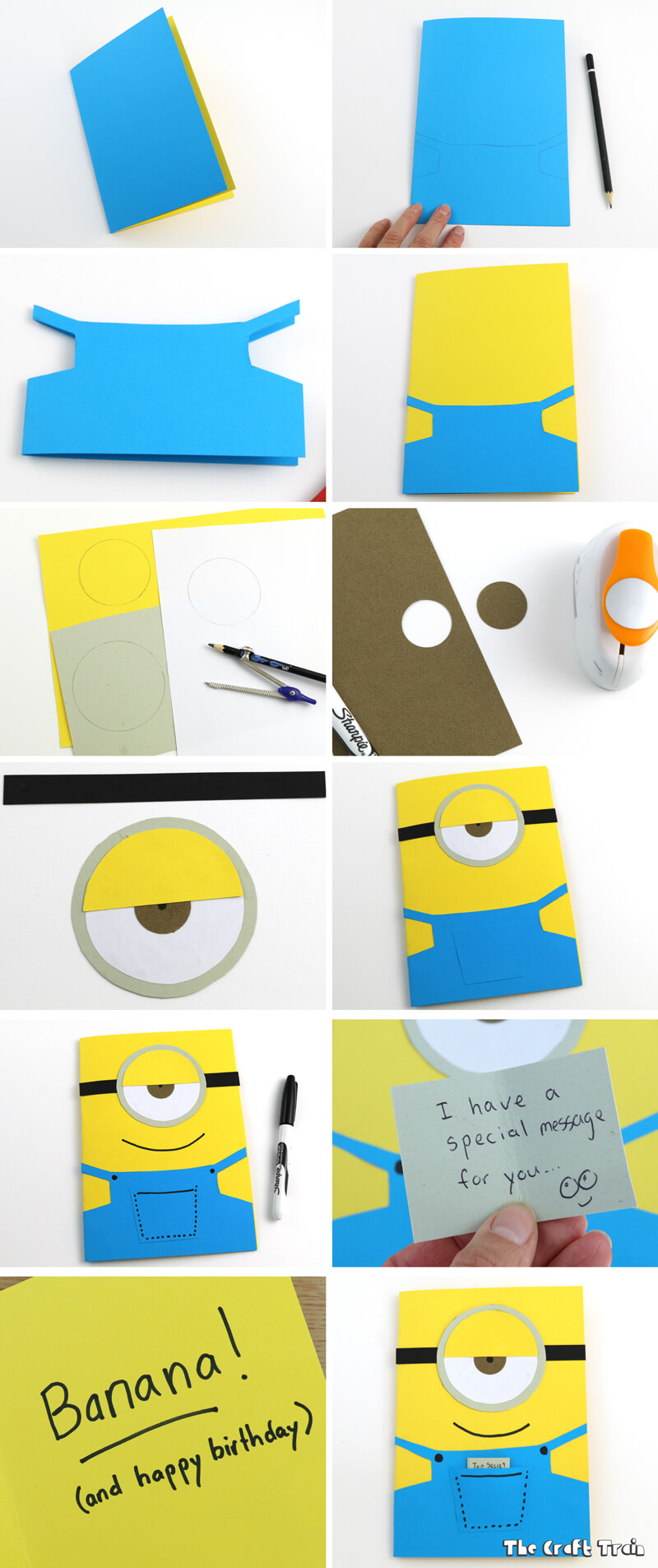 Use Construction Paper To Create A Simple Minion Greeting Card In 10 Minutes This One