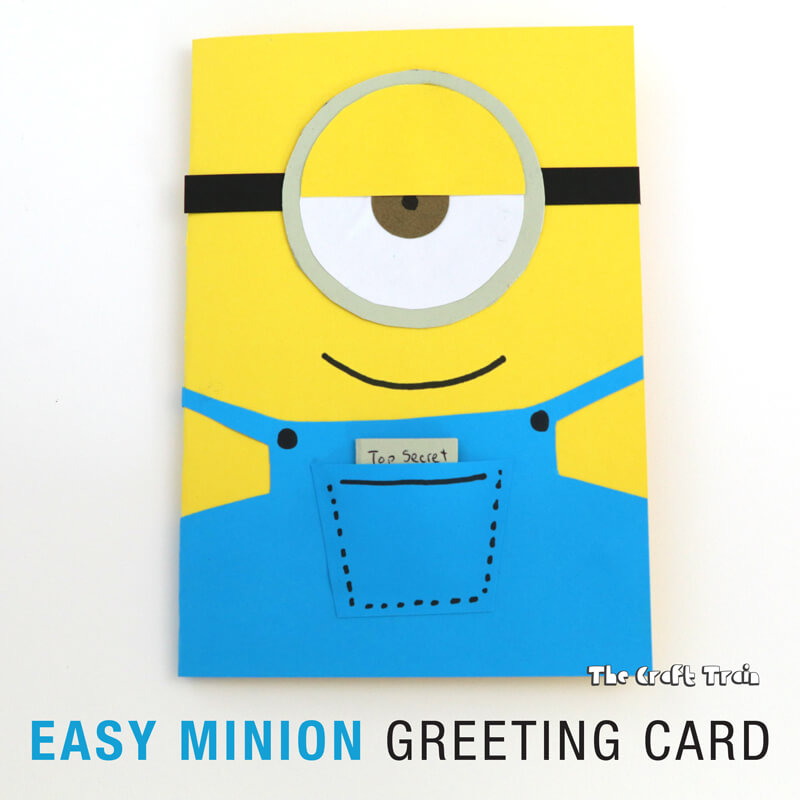 Easy minion greeting card the craft train use construction paper to create a simple minion greeting card in 10 minutes this one m4hsunfo