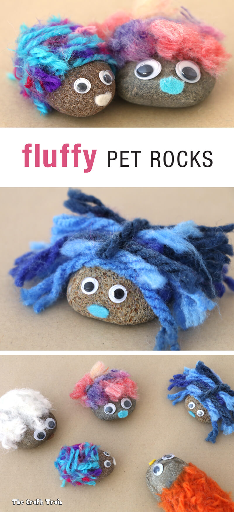 Create adorable fluffy rocks with yarn pom pom trimmings. This is a great kids craft idea!