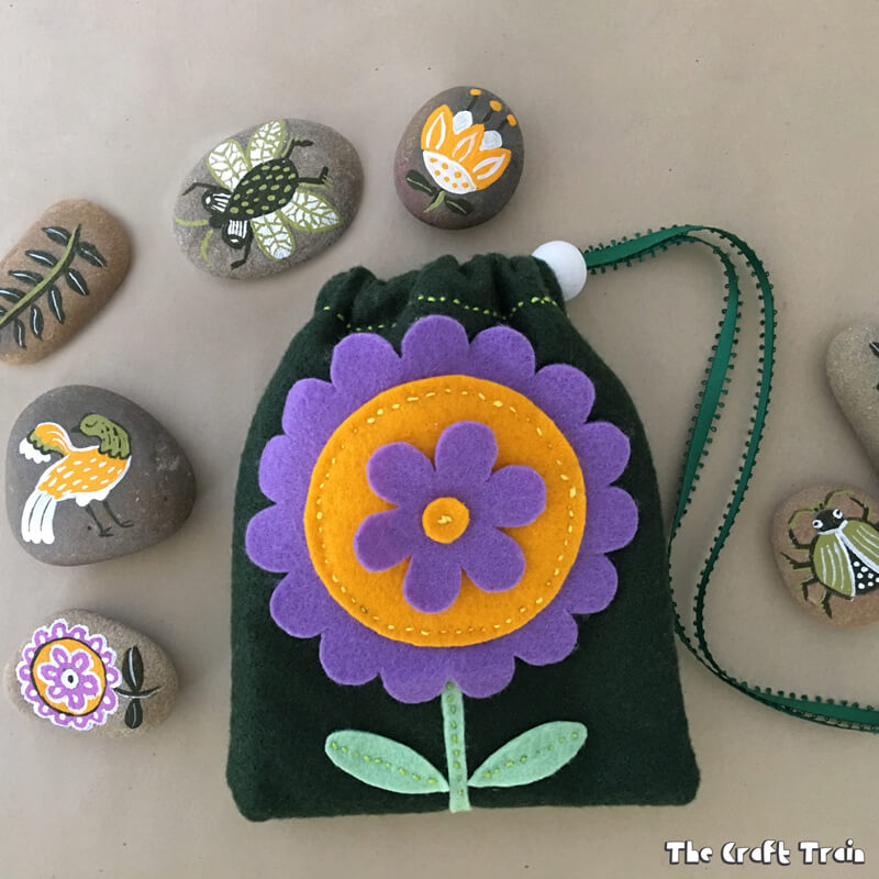 Garden rocks in drawstring bag