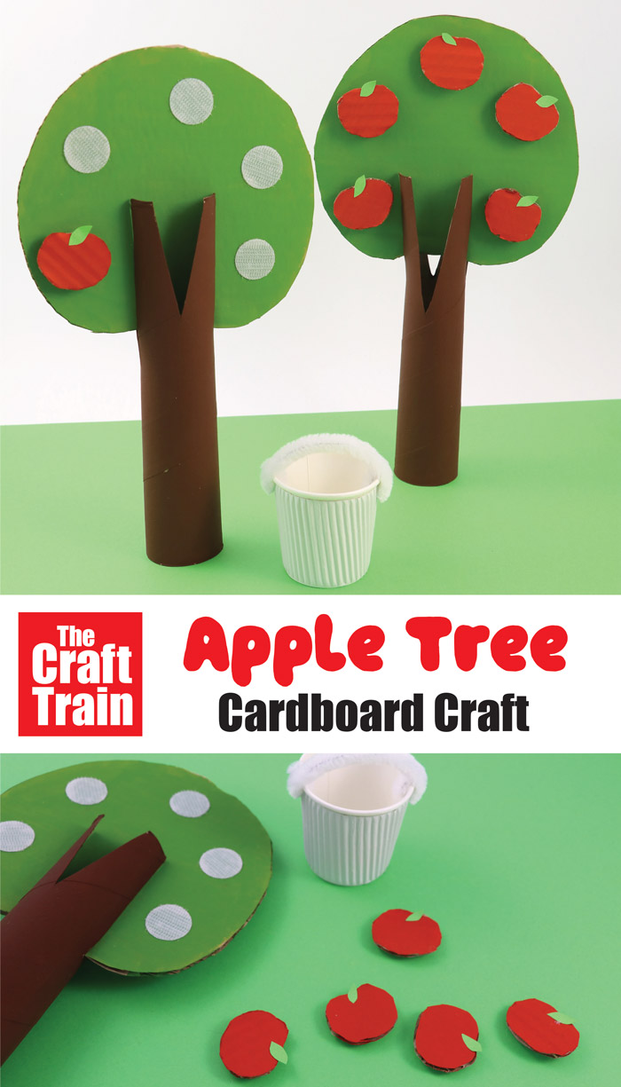 apple tree craft for kids made from recycled cardboard
