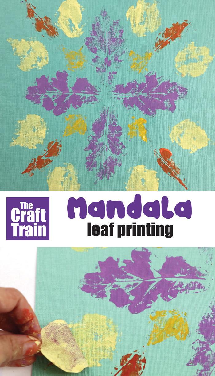mandala leaf printing process art idea for kids