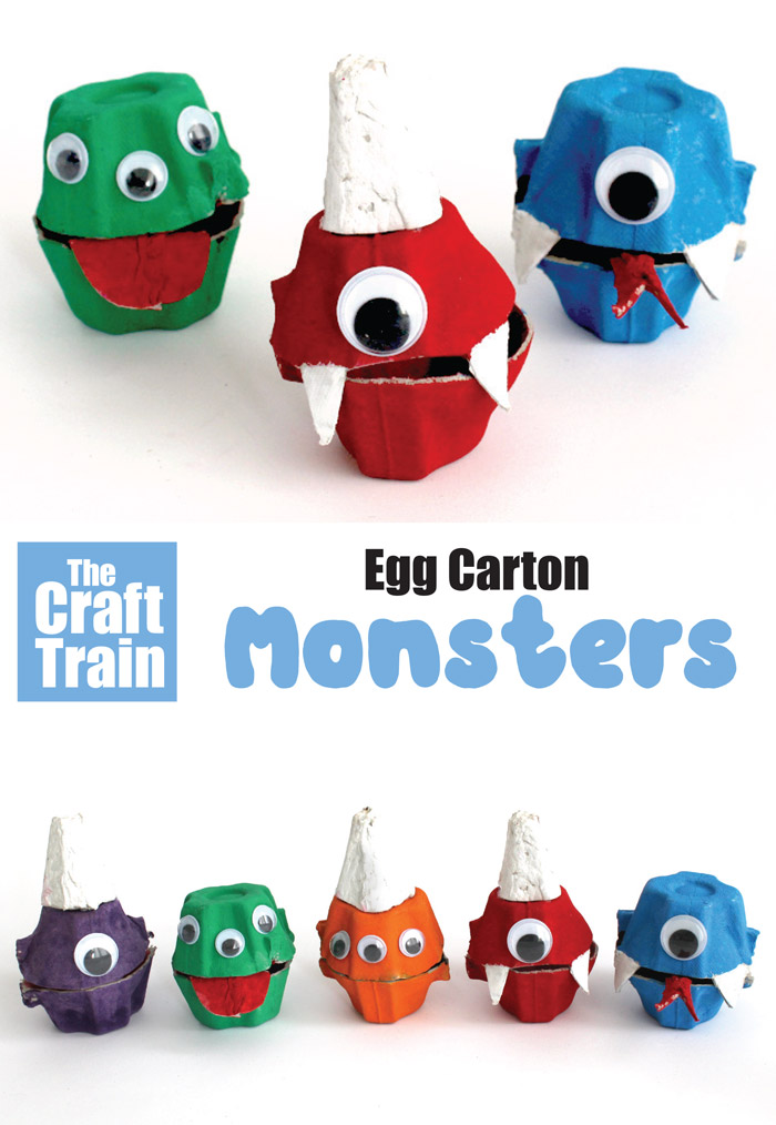 Egg carton monster recycling craft idea for kids #eggcartons #kidscrafts #thecrafttrain #halloween #monsters