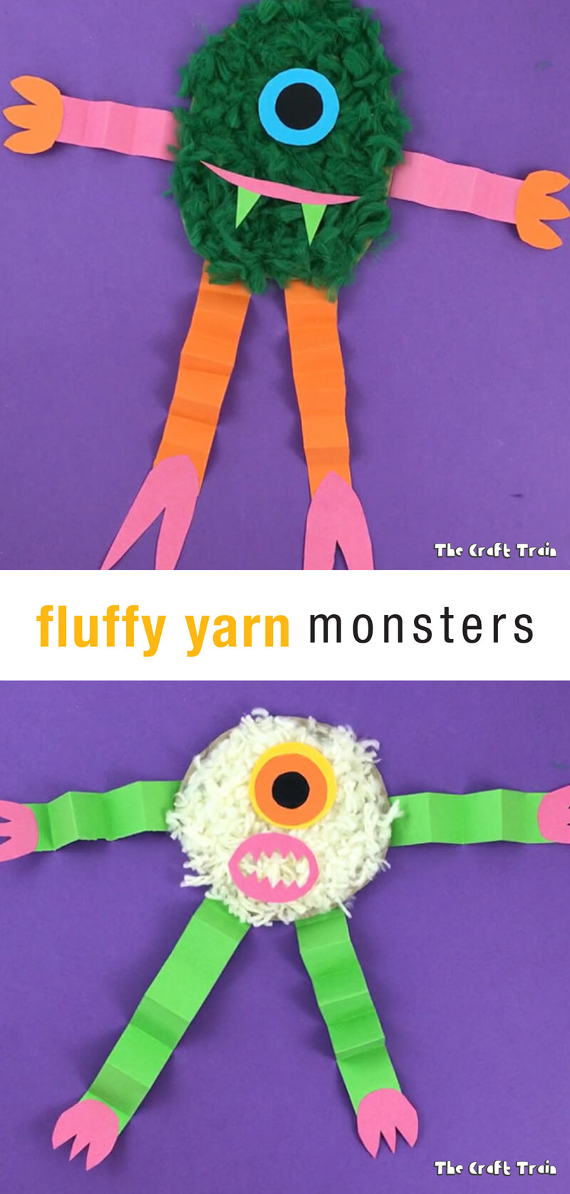 Make some fun, fluffy yarn monsters for Halloween. This is a great way to use up your pom pom trimmings!