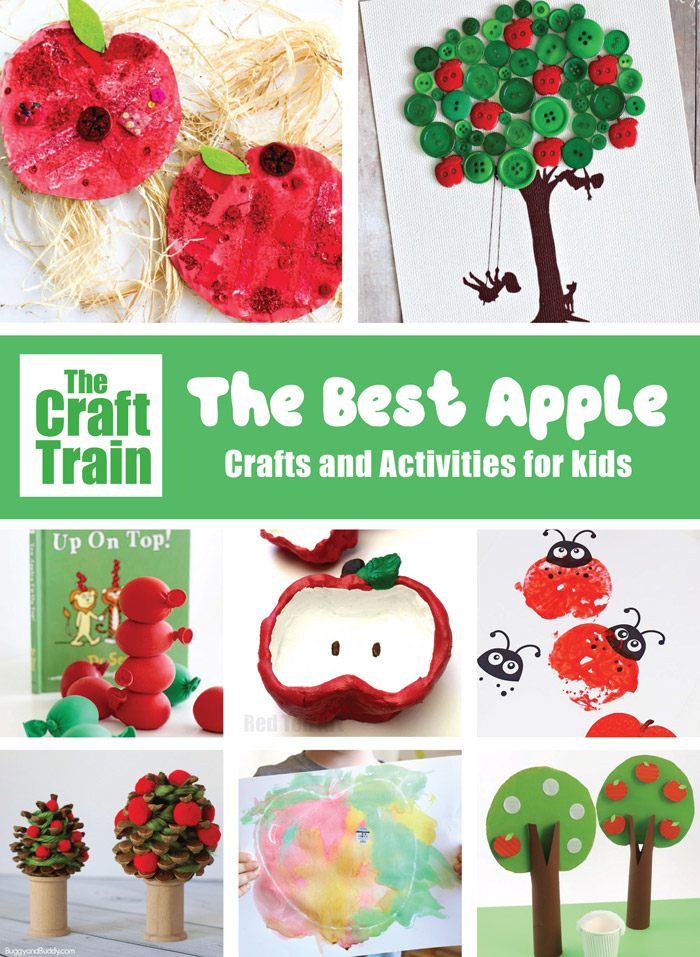 Apple crafts and activities for kids – over 40 ways to learn, create, play and have FUN with apple-themed activites #apples #applecrafts #appleseason #kidsactivities #seasonalcrafts #creativefun #thecrafttrain
