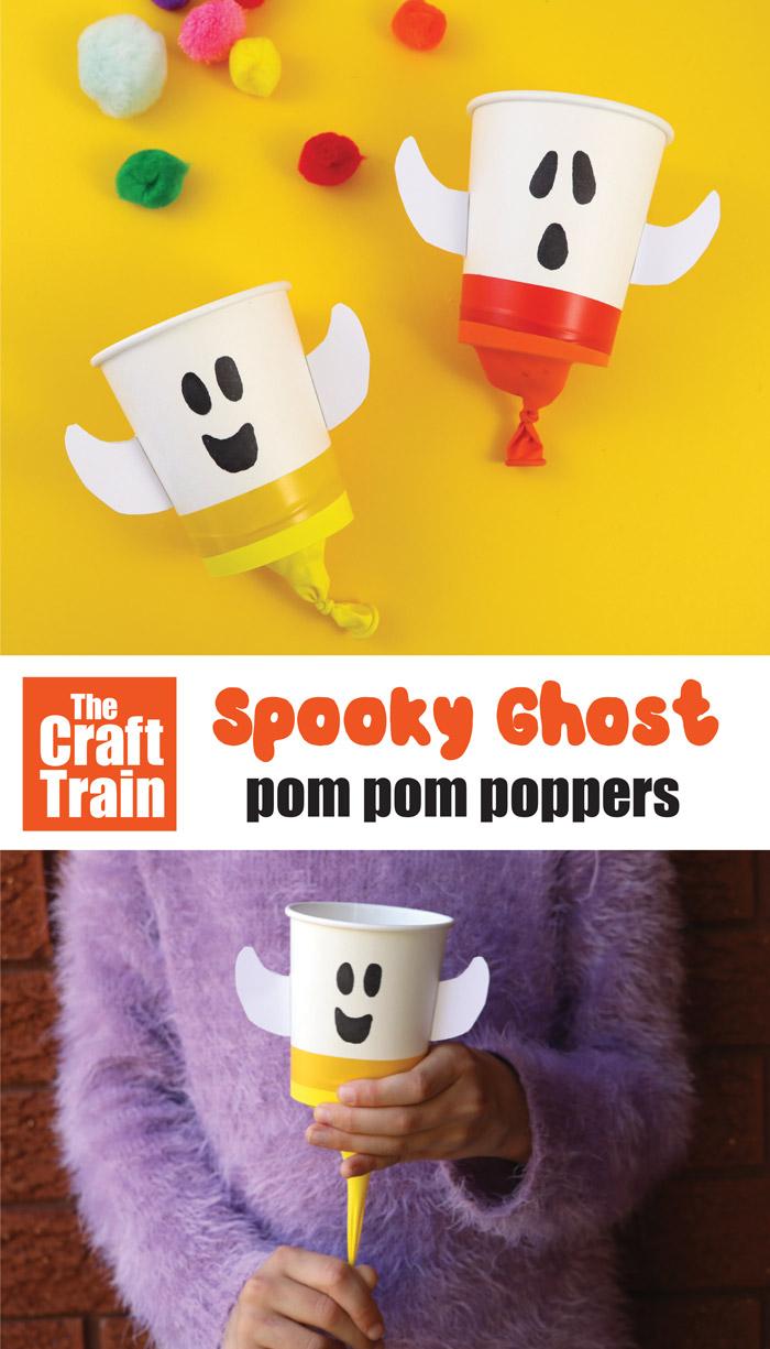 spooky ghost pom pom popper crafts