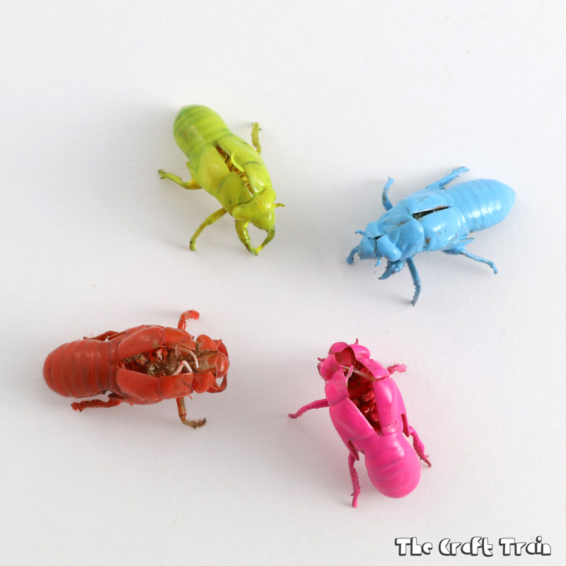 Neon cicada shells, a simple nature craft idea
