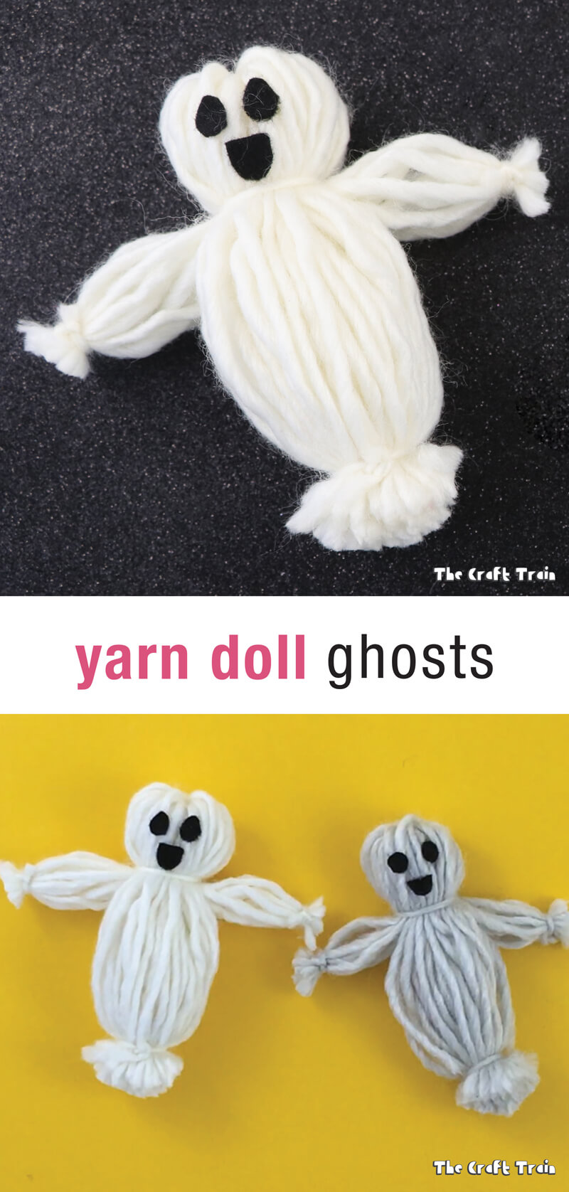 Create some cute and easy yarn doll ghosts using a basic yarn doll making technique