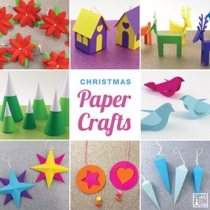 12 Christmas paper crafts with printable templates. Make your own decorations this year! #Christmas #Christmascraft #papercraft #kidscrafts