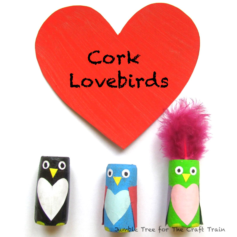 Adorable cork lovebirds Valentines Day craft