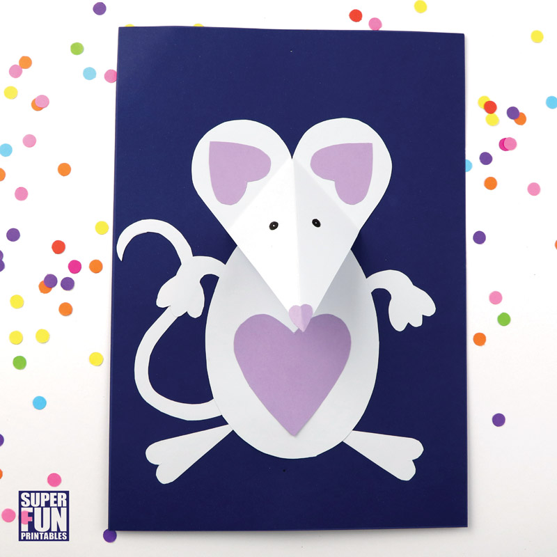 3D paper mouse craft with printable template #Valentines day #papercraft #kidscarft #animalcraft