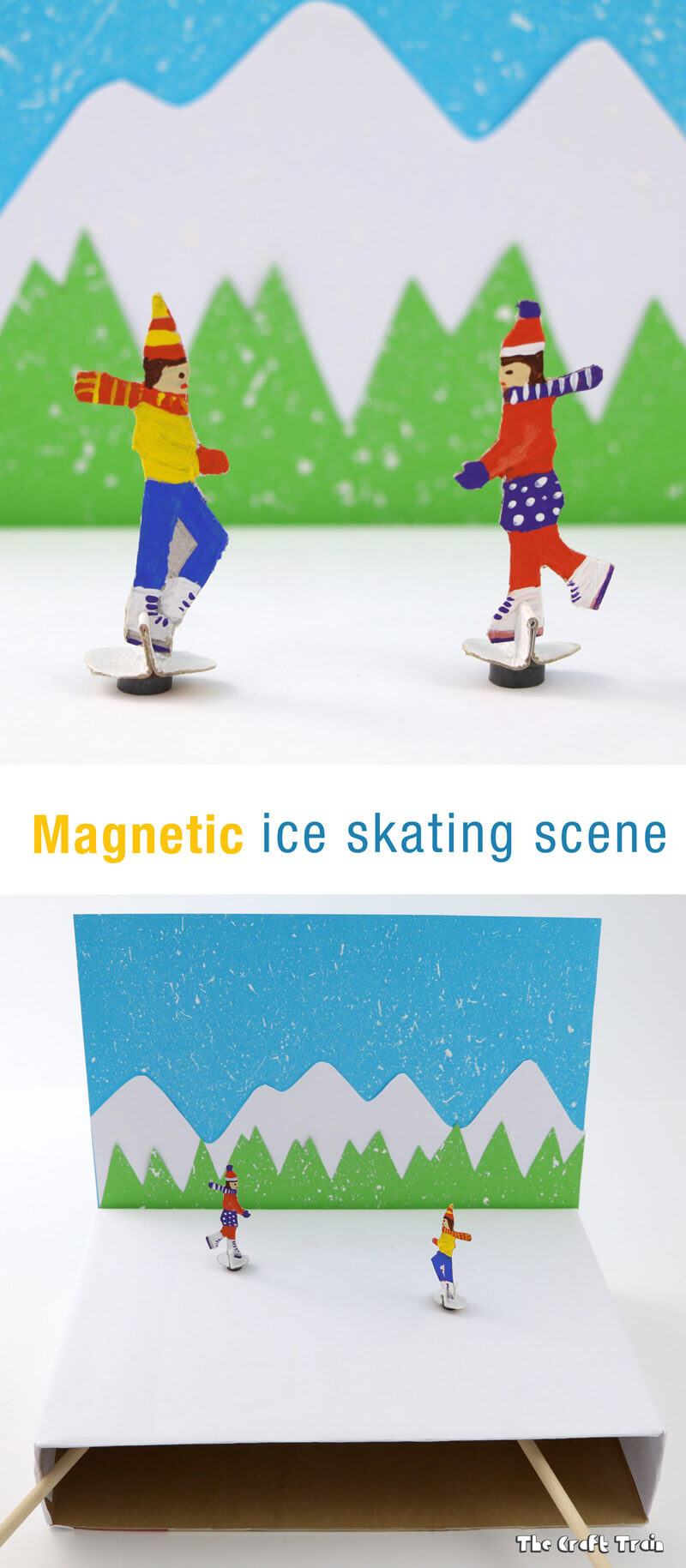 Magnetic ice skating craft for kids. THis is a fun STEAM activity and makes a great DIY toy.