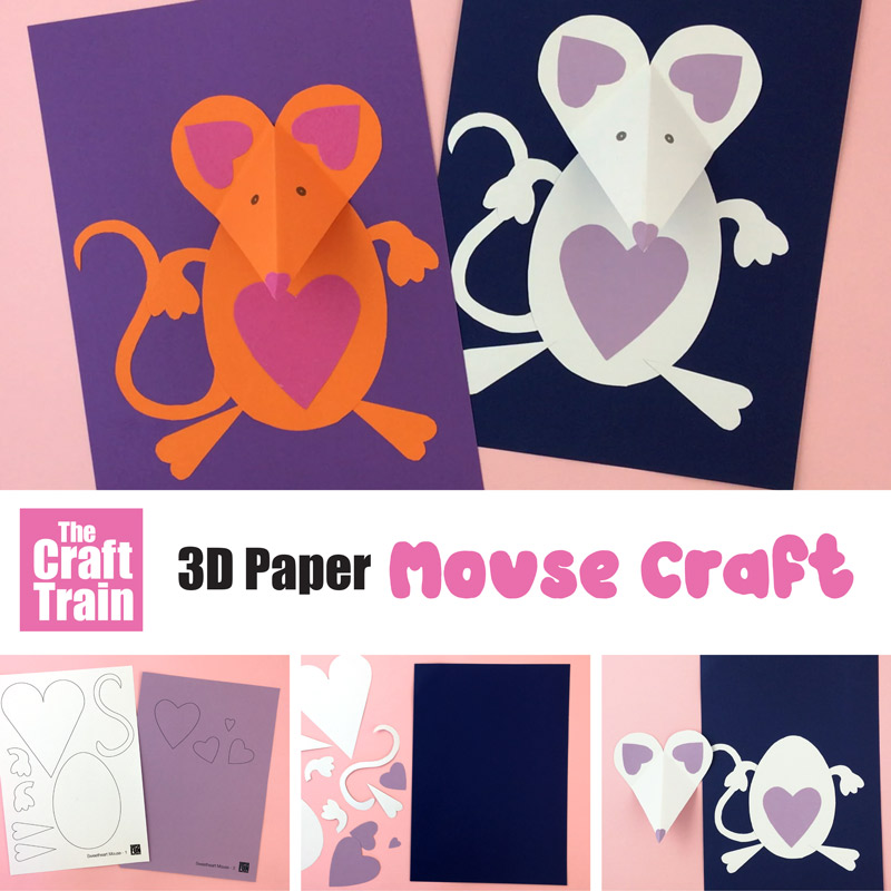 3D paper mouse craft for valentines day with printable template