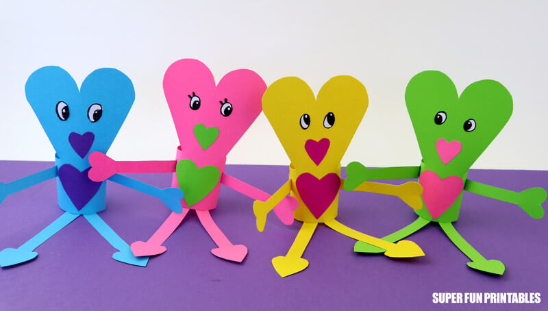 Paper heart people Valentines craft for kids