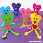 Paper heart people valentines day craft for kids with printable template