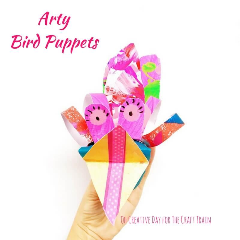 Adorable easy arty bird puppets