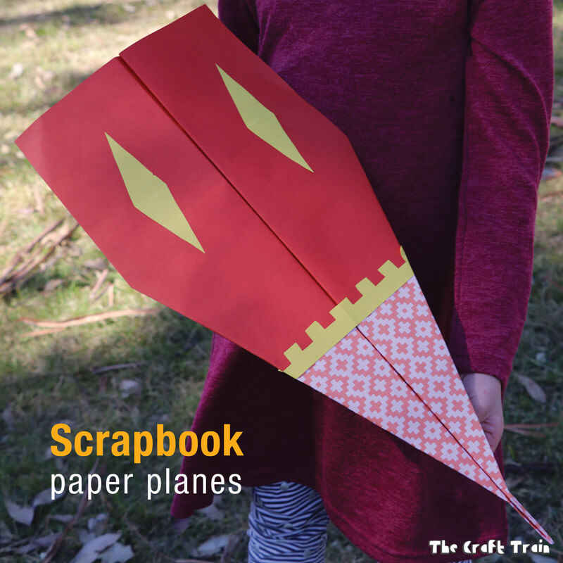 Scrapbook paper planes. Make some decorative, large paper planes from scrapbook paper and take them outdoors to fly them! This is a fun STEM or STEAM activity for kids #scrapbookpaper #paperplanes #STEAM #STEM #outdooractivities #kidscrafts