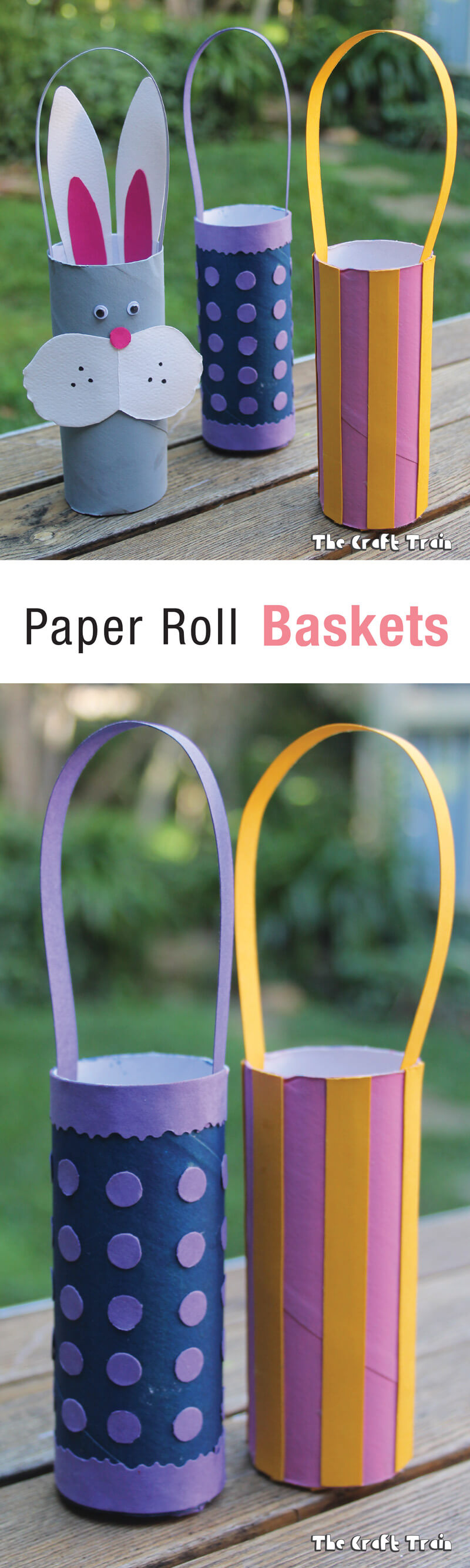 Paper roll Easter baskets - repurpose paper rolls into cute, decorated Easter baskets for kids #eastercraft #recyclingcraft #paperrrolls #kidscrafts #crafts