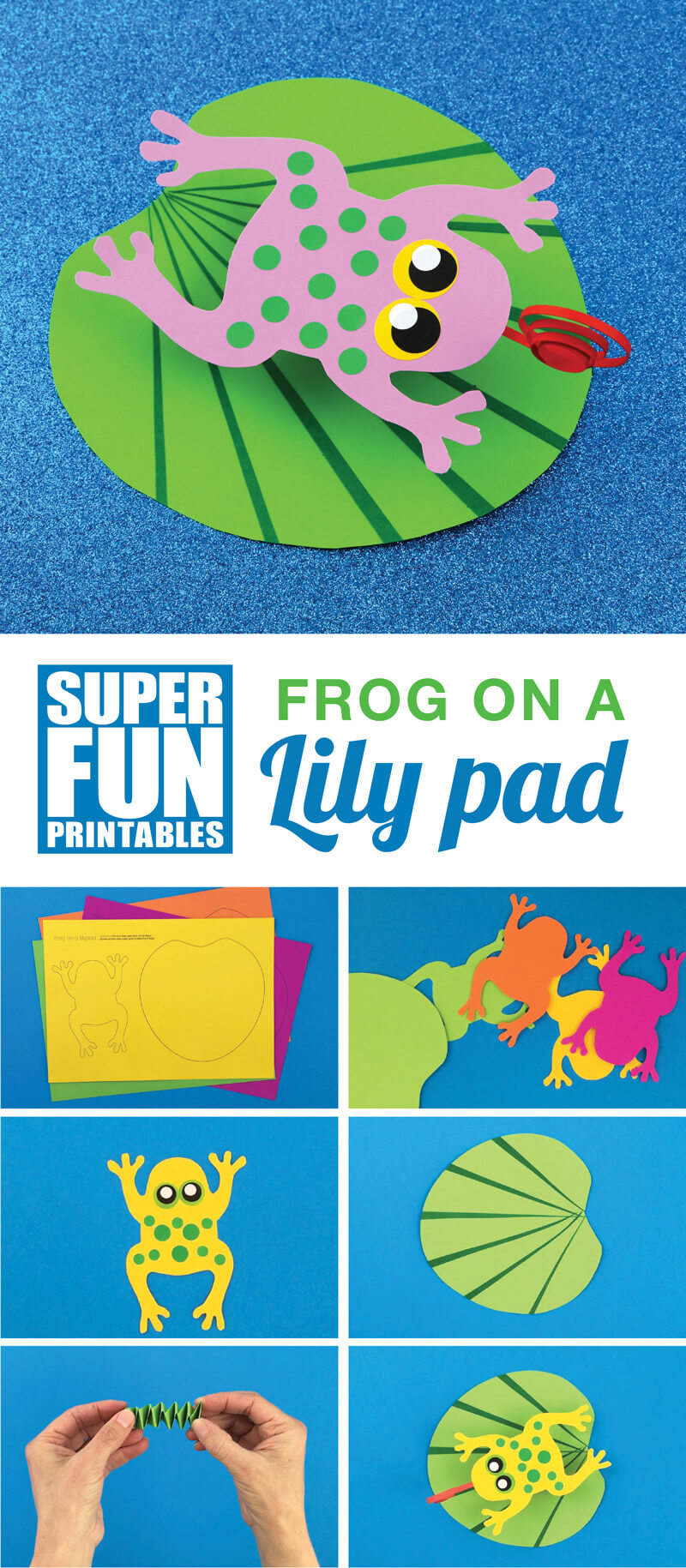 Make a cute bouncy frog on a lily pad craft for kids with this printable template #kidscrafts #frogs #animalcrafts #papercrafts #printablecrafts