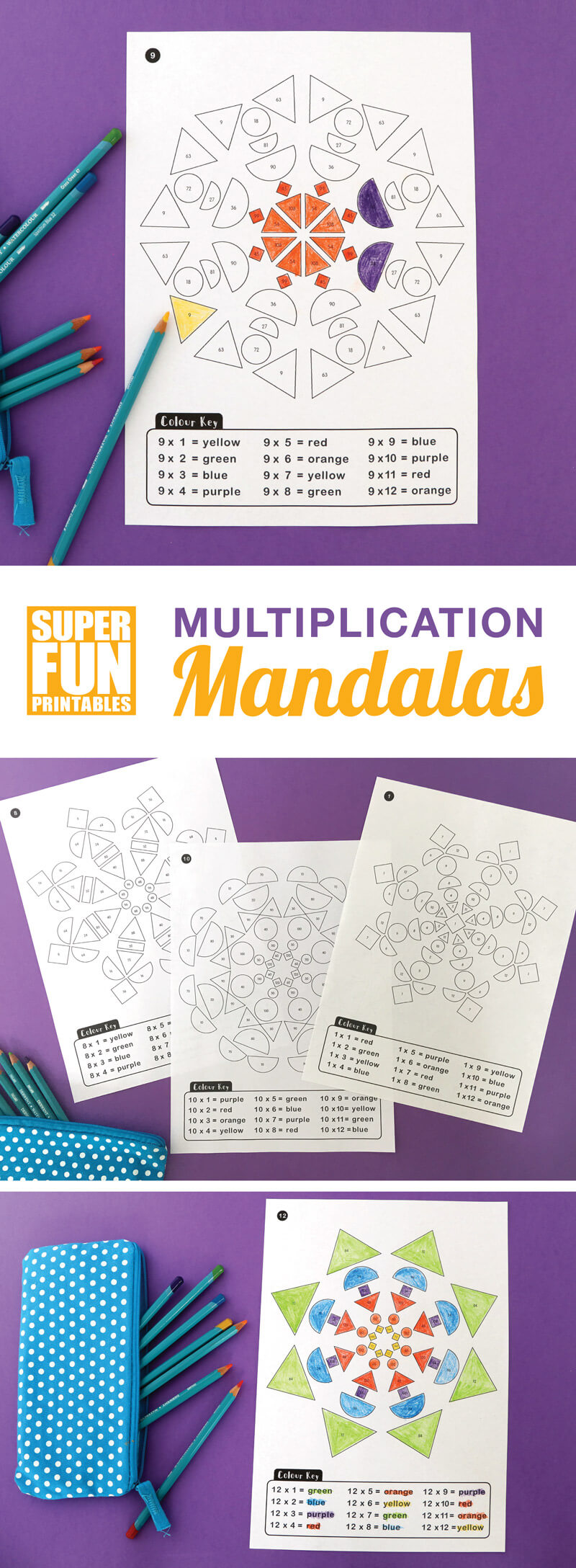 Printable multiplication mandalas, a non-stressful and relaxing way for kids to practice and reinforce their times tables #timestables #multiplication #math #geometricshapes #patterns #mandalas