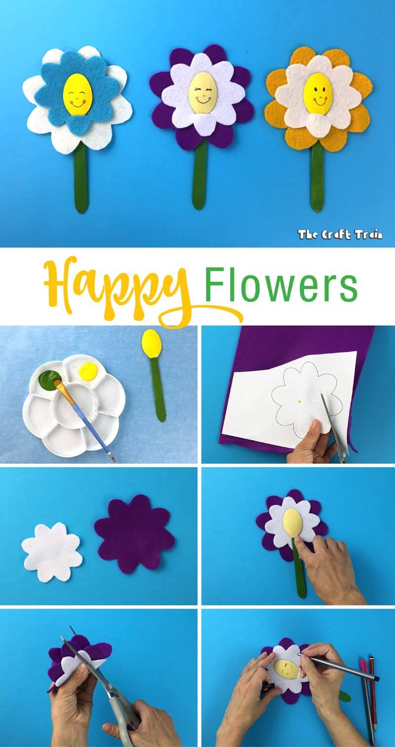 Happy flower craft - process shots of how to create happy flowers #kidscrafts #flowercrafts #feltcrafts #Springcrafts