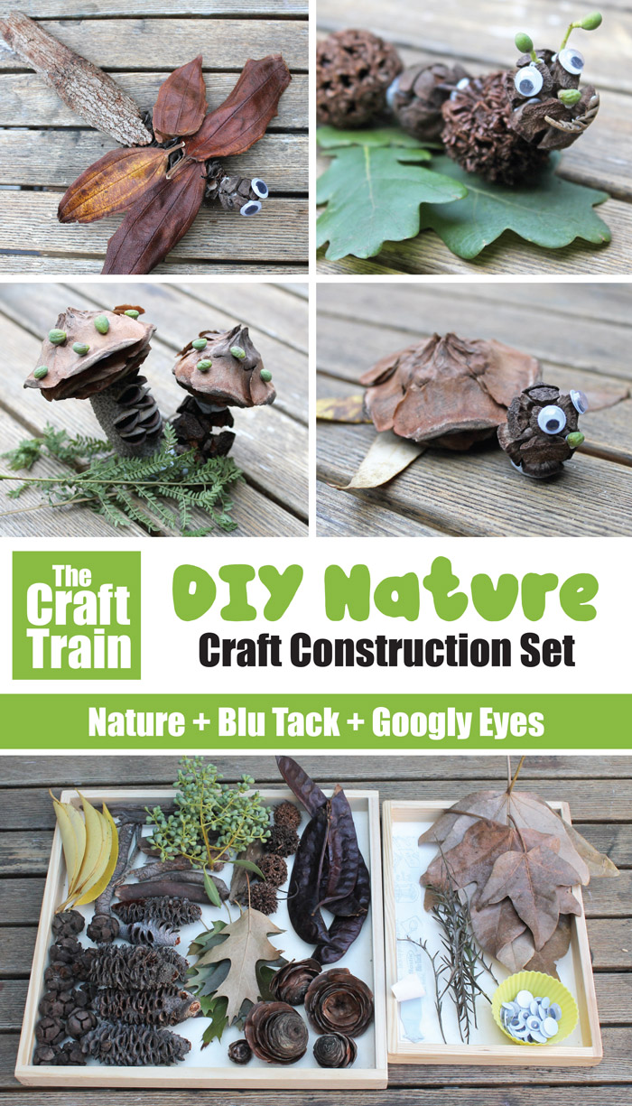 Nature + googly eyes + blu tack = awesome DIY nature craft construction set. This is a great STEM craft for kids which is simple to set up and can provide a whole afternoon of open ended play. #naturecraft #STEM #STEAM #kidscrafts #kidsactivities #openendedplay #preschool #outdoors #eaarthday #thecrafttrain