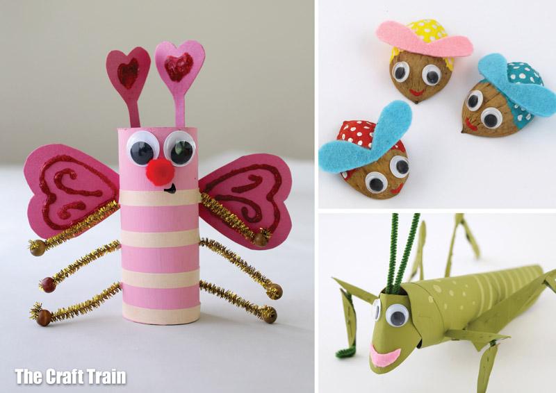 Bug craft ideas for kids! Make a paper roll love bug, a walnut bug or a paper roll grasshopper