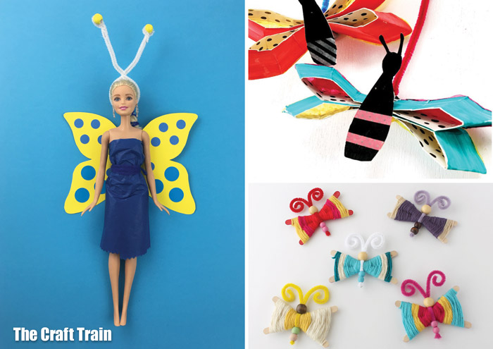 butterfly crafts for kids! 15 awesome bug and butterfly crafts kids will love. Make a butterfly barbie costume from paper, a paper plate butterfly craft or a woven craft stick butterfly #butterflycraft #kidscrafts #kidsactivities #thecrafttrain #spring