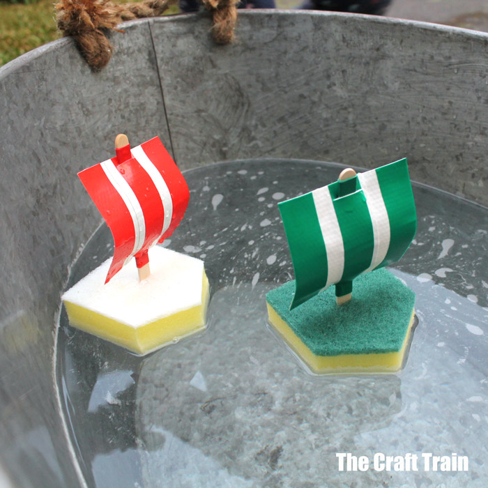 easy boat craft for kids using sponges