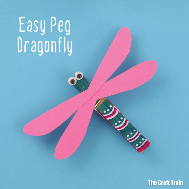 make a cute peg dragonfly using a clothes pin and paper wings. This is a fun Summer craft idea for kids #insect #bugcraft #summer #kidsactivities #kidscrafts