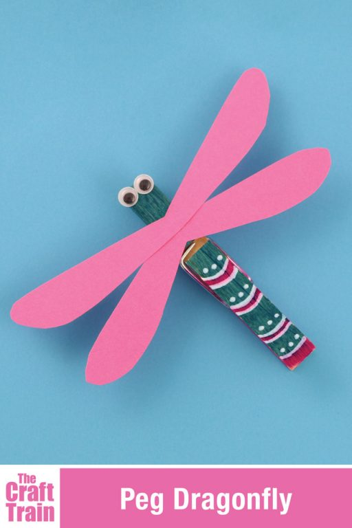 Cute peg dragonfly craft for kids. This is a fun and easy craft for Summer and would also be great for a unit on mini beasts. Keep them as a toy for imaginary play, or you could also glue a fridge magnet to the back to make a pretty fridge decoration. #bugcraft #summercraft #kidscraft #kidsactivities #dragonfly #pegcraft #clothespinc