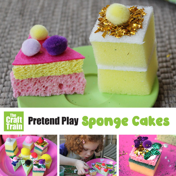 pretend play sponge cakes – a fun and easy sponge craft for kids