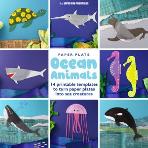 14 paper plate ocean animal crafts for kids. This ebook contains the printable templates to transform paper plates into 14 different sea creatures along with interesting non fiction facts about each one. Kids will gain an appreciation of our sea life, learning about ocean animals and also making an eye-catching craft which can be hung on the wall #oceananimals #kidscrafts #paperplates #paperplatecrafts
